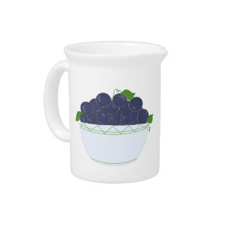 Bowl of Blueberries Drink Pitcher