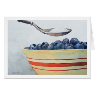 """"""" BOWL OF BLUEBERRIES WITH SUGAR """" GREETING CARD"""