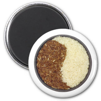 Bowl of brown and white rice 2 inch round magnet
