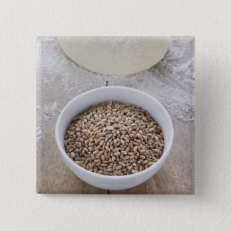 Bowl of Cereal Grain and Mound of Dough Pinback Button