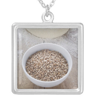 Bowl of Cereal Grain and Mound of Dough Silver Plated Necklace