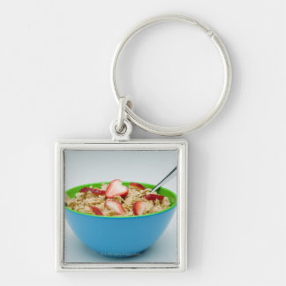 Bowl of cereal Silver-Colored square keychain