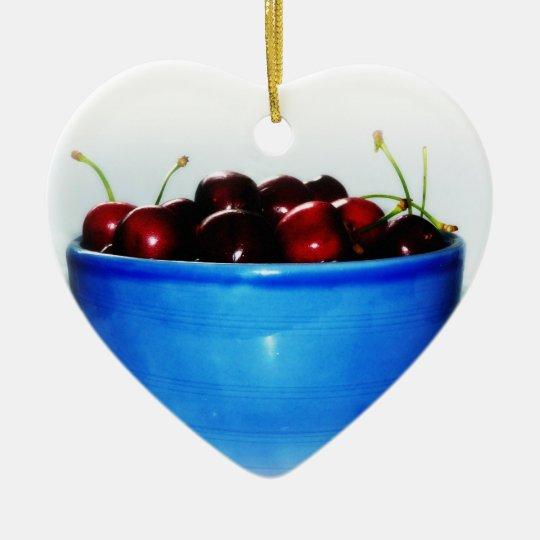 Bowl of Cherries Ceramic Ornament