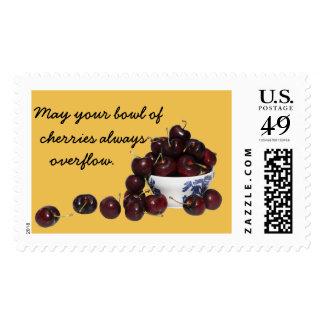 Bowl of Cherries Postage Stamp