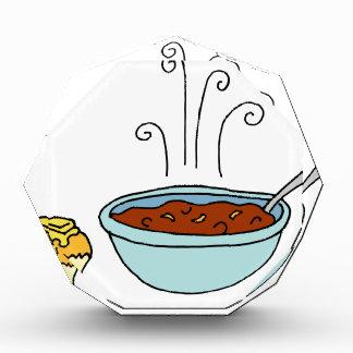 Bowl of chili and cornbread muffin acrylic award