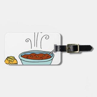 Bowl of chili and cornbread muffin bag tag