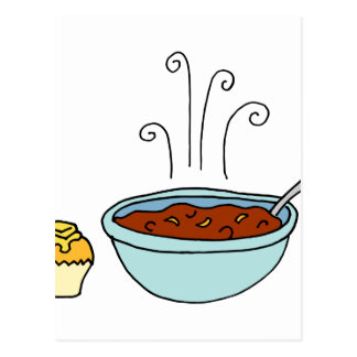 Bowl of chili and cornbread muffin postcard