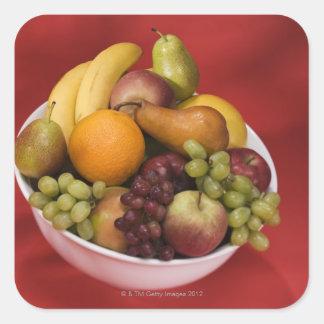 Bowl of fresh fruits square sticker