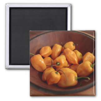 Bowl of habanero peppers, Traditional food 2 Inch Square Magnet