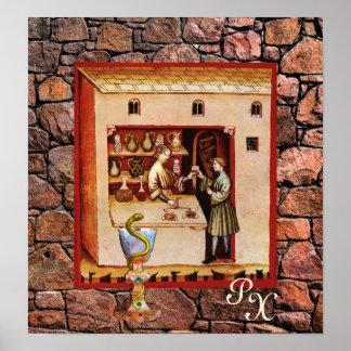 BOWL OF HYGEIA, ANTIQUE PHARMACY ,Pharmacist Poster