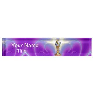 BOWL OF HYGEIA  Medicine, Pharmacy ,Purple Teal Desk Name Plate