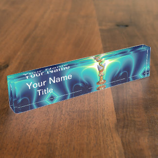 BOWL OF HYGEIA  Medicine, Pharmacy Turquoise Blue Desk Nameplate