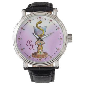BOWL OF HYGEIA MONOGRAM Medicine, Pharmacy ,Pink Wrist Watch