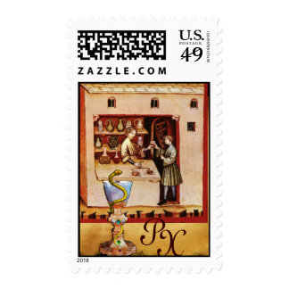 BOWL OF HYGEIA  MONOGRAM Medicine, Pharmacy Postage
