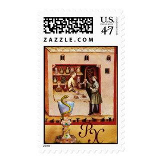 BOWL OF HYGEIA  MONOGRAM Medicine, Pharmacy Stamp