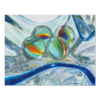 Bowl of Marbles, drawing by Carla Kurt (11x14) Poster
