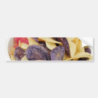 Bowl of Mixed Potato Chips Close-Up Bumper Sticker