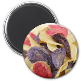 Bowl of Mixed Potato Chips Close-Up Magnet