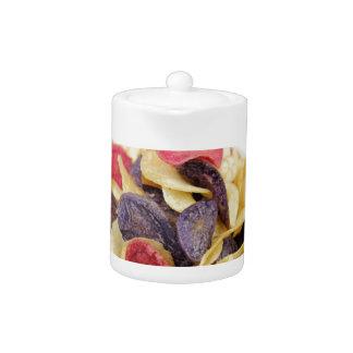 Bowl of Mixed Potato Chips Close-Up Teapot