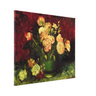 Bowl of Peonies and Rose,Vincent van Gogh. Canvas Print