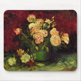 Bowl of Peonies and Rose,Vincent van Gogh Mouse Pad