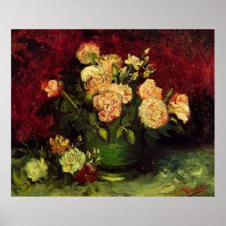 Bowl of Peonies and Rose,Vincent van Gogh Poster