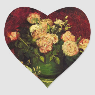 Bowl of Peonies and Rose,Vincent van Gogh Heart Sticker