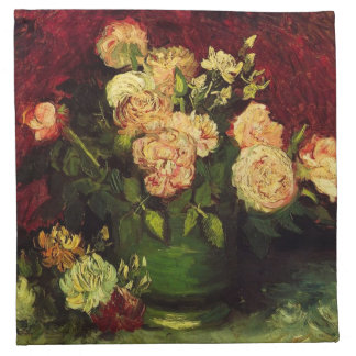 Bowl of Peonies and Rose,Vincent van Gogh.  World Printed Napkins