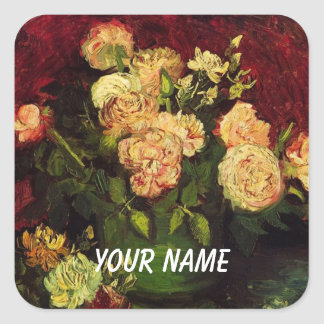 Bowl of Peonies and Rose,Vincent van Gogh.  World Square Sticker