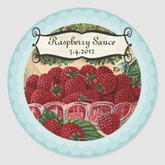 Bowl of raspberries fruit jam jelly canning label classic round sticker