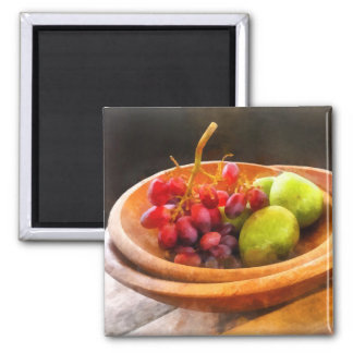 Bowl of Red Grapes and Pears 2 Inch Square Magnet