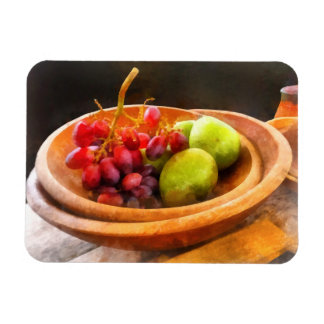 Bowl of Red Grapes and Pears Rectangular Photo Magnet
