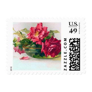 Bowl of Roses Fine Art Postage Stamp