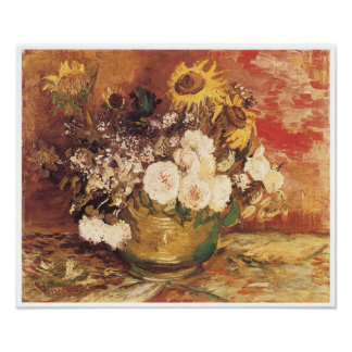 Bowl of Sunflowers, Roses & Others, Van Gogh Poster