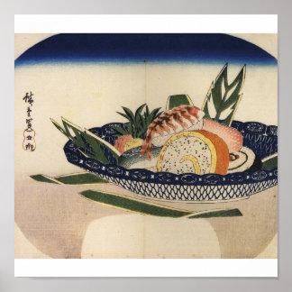 Bowl of Sushi, circa 1800's Japan. Poster