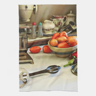 Bowl Of Tomatoes On Counter Hand Towel