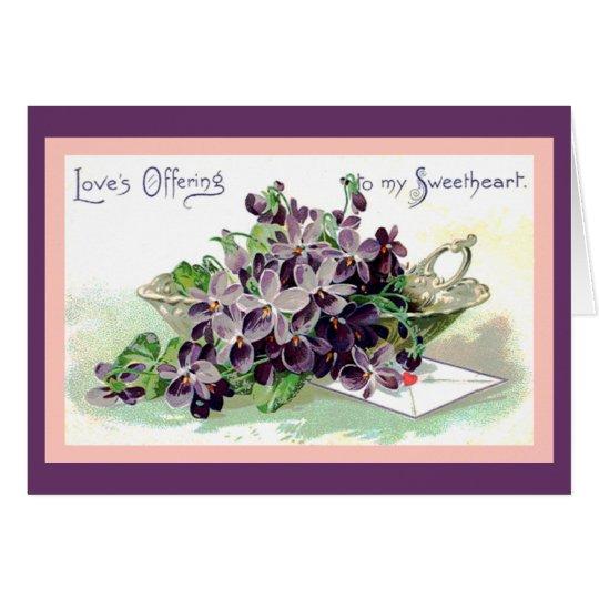 Bowl of Violets Valentine Card