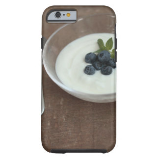 Bowl of yoghurt with blueberry on table tough iPhone 6 case