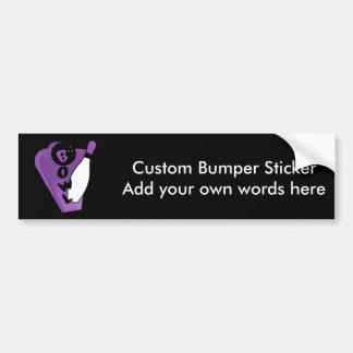 Bowl Pin Purple Retro Bowling SIgn Car Bumper Sticker