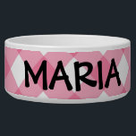 "Bowl - Pink Latticed Checkerboard for Zinnia<br><div class=""desc"">Though Zazzle markets this as a large pet food bowl, and you can customize it with your pet&#39;s name, I think it makes a beautiful candy dish or dish garden container . . . one you can personalize with your own message, label or pet name. The delightful, pink latticed checkerboard...</div>"