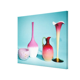 Bowl, Vases and Jug, late 19th century Canvas Print