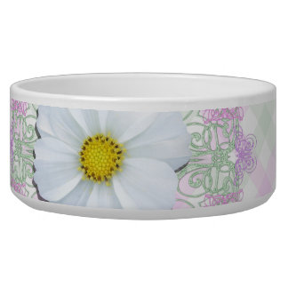 Bowl - White Cosmos on Lace & Lattice Pet Water Bowls