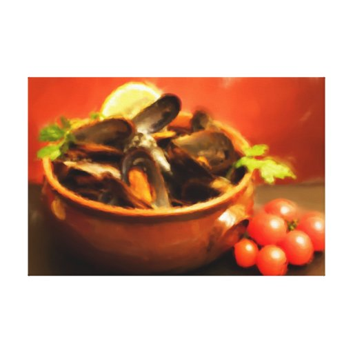 Bowl With Mussels Soup - Oil Paint Gallery Wrapped Canvas