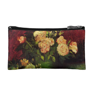 Bowl with Peonies and Roses, Vincent van Gogh Cosmetic Bags