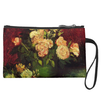 Bowl with Peonies and Roses, Vincent van Gogh Wristlet Clutch