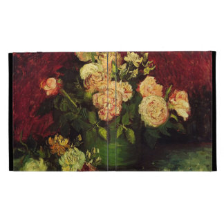 Bowl with Peonies and Roses, Vincent van Gogh. iPad Folio Case