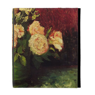 Bowl with Peonies and Roses, Vincent van Gogh iPad Folio Case