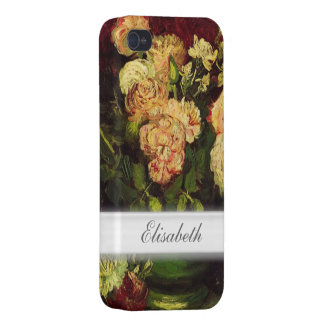 Bowl with Peonies and Roses, Vincent van Gogh. Covers For iPhone 4