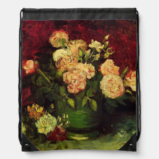 Bowl with Peonies and Roses, Vincent van Gogh. Cinch Bag