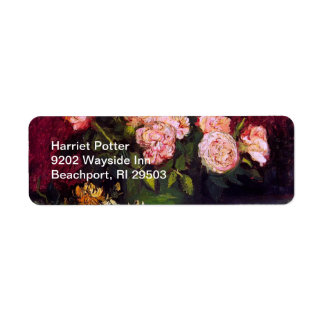 Bowl with Peonies & Roses Van Gogh Fine Art Label